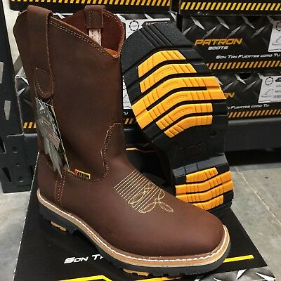 Men's Steel Toe Work Boots Genuine Leather Brown Western Cowboy Pull On Boots