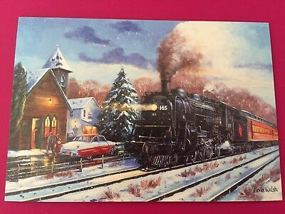 "Leanin' Tree Christmas Card - Train Theme ""Leaving the Station"" Inventory #764"