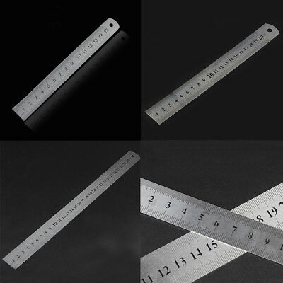 1pc Stainless Steel Pocket Metric Metal Ruler Measurement Double Side 15/20/30CM