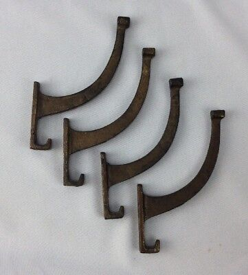 Set of 4 Old Coat Hook Craftsman House Clothes Tree Hanger Rustic Iron Vintage