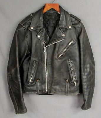 Vintage 1970s Harley Davidson Black Leather Motorcycle Jacket Sz.40 Great Look!