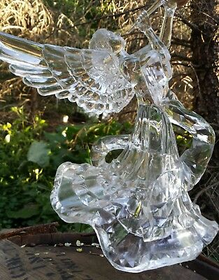 """Clear Acrylic Angel Christmas Tree Topper Light Catching Cut Crystal Look 9"""""""