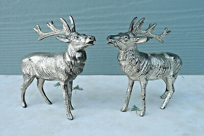 two vintage cast metal reindeer christmas decorations made in japan - Metal Reindeer Christmas Decorations