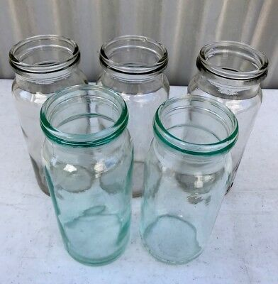 5 Vintage Industrial Style Fowlers Glass Jars #27 #270 Shop Display Props Vases
