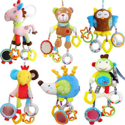 Baby Boy Girls Cute Cotton Rattles Infant Animal Hand Bell Kids Plush Toy