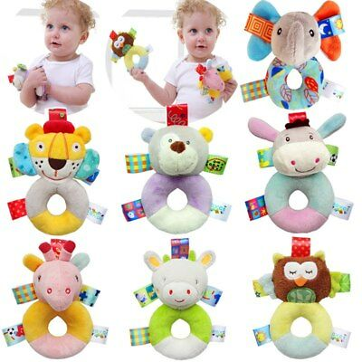 Hot Baby Toys Plush Infant Development Soft Animal Handbells Rattles 0-12 Months