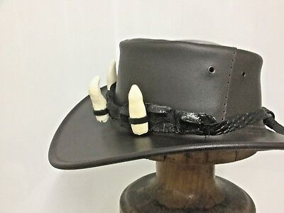 Crocodile Leather Front Hat Band 3 Super Jumbo teeth, Durable  HAT EXTRA exotic