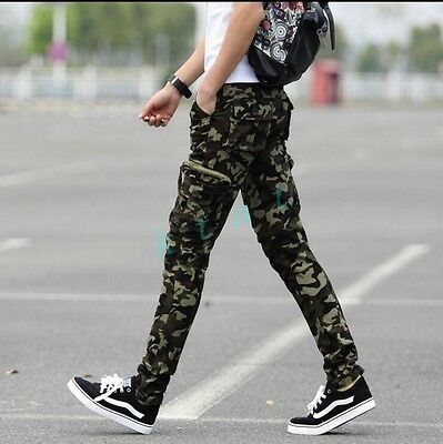 2018 Mens Pants Military Camouflage Baggy Zipper Cargo Outdoor Casual Trousers