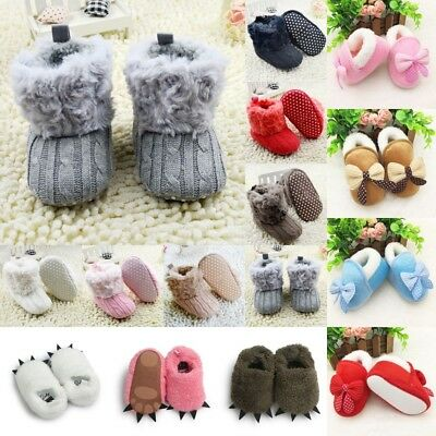 Infant Baby Kids Winter Warm Snow Boots Fleece Knit Booties Crib Shoes Sneaker