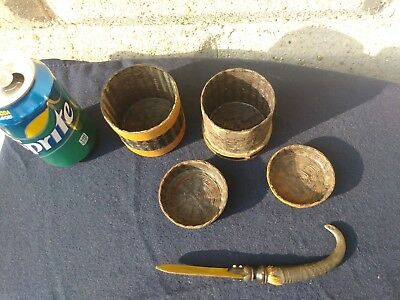 (2) African Artifacts Basket Box And Hair Comb Bone Relic Rare One Of A Kind !!