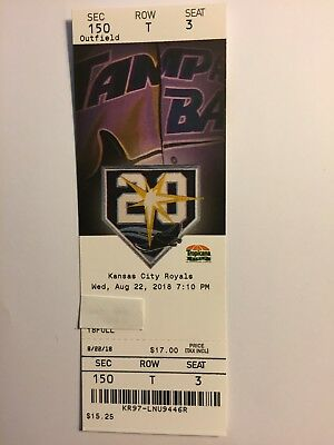 Tampa Bay Rays Vs Kansas City Royals August 22, 2018 Ticket Stub