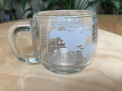 Rare NESTLE Co Glass Cups World Globe Etched Cocoa Coffee Mugs Vintage Nice
