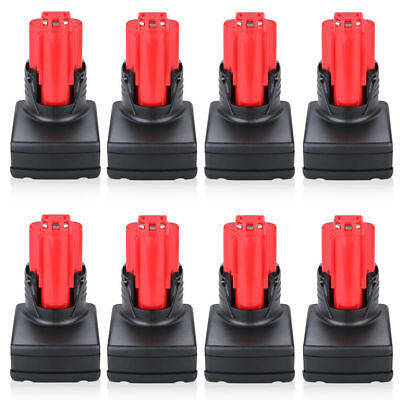 8 x 12V 3000mAh Replace Battery for Milwaukee 12 Volt Cordless Drill Power Tools
