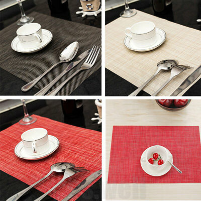 1/4Pcs PVC Quick-drying Weave Placemats Insulation Mats Kitchen Dining Table Pad