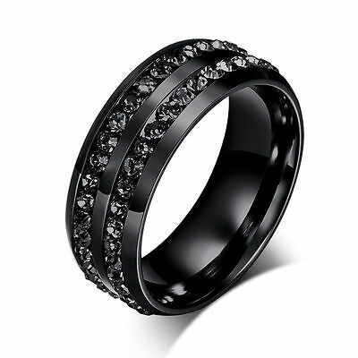 Cn_ Eg_ Unisex Black 2-Row Rhinestone Stainless Steel Wedding Band Ring 7-12 T