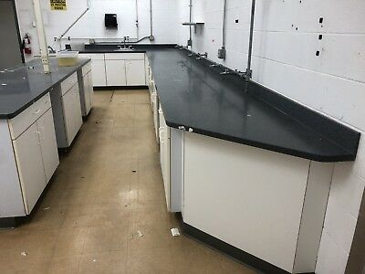 Lab Casework, Wall Unit, Island, Corion Tops. Id# Qc 700183
