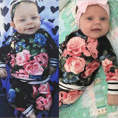 Toddler Kids Baby Girls Floral Tops+Long Pants+Headband 3Pcs Set Outfits Clothes