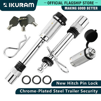 IKURAM 2 Hitch Pin Locks 5/8 Same Key Tow Bar Tongue Anti-Theft Lock Trailer 4WD