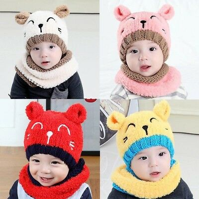 Winter Baby Cute Animal Ear Knitted Hats Boys Girls Hat Scarf Cotton Toddler Hat