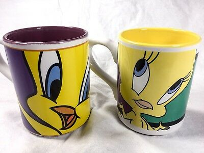 Set Of 2 Looney Tunes 2000 Tweety Bird Coffee Cup Mug By Gibson