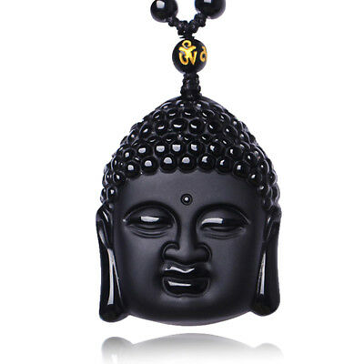 1PC Obsidian Buddha Head Day Tathagata Pendants Vintage Crystal Necklace Gift