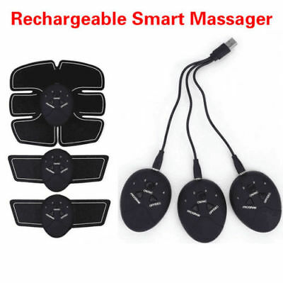 4 In 1 USB Rechargable Fitness Abdominal Muscle Trainer ABS Stimulator Toner LOT