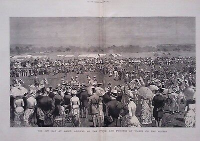 1882 Print The Cup Day At Ascot : Arrival Of The Prince & Princess Of Wales
