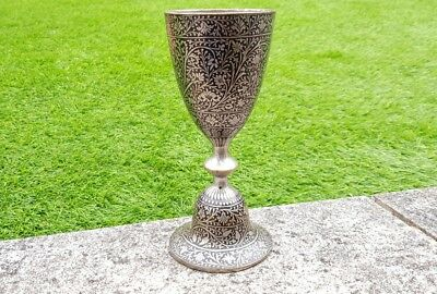 Vintage antique pewter gothic medieval goblet chalice cup 600 grams