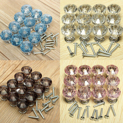 Diamond Shape Design Crystal Glass Knobs Cupboard Drawer Pull Cabinet Handles