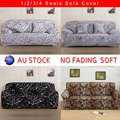 Easy Fit Stretch Couch Sofa Lounge Covers Slipcover 1 2 3 4 Seater Cover Black