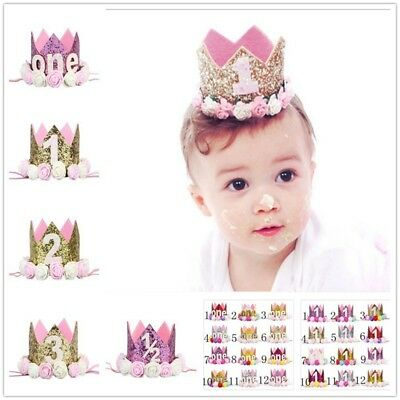 Baby Girls First 1st Birthday Party Crown Hat Headband with Unicorn Cake Topper