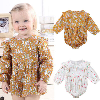 Newborn Baby Girl Long Sleeve Romper Bodysuit Jumpsuit Autumn Outfits Clothes