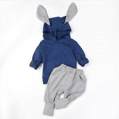 Baby Girl Toodler Rabbit Ears Clothes Hooded Tops Pants Outfits Sets Tracksuit