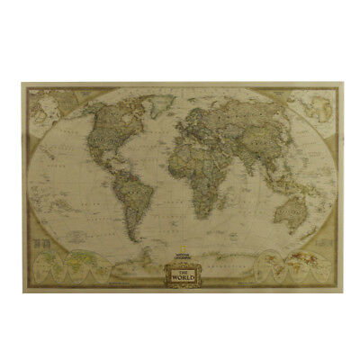 Bar Vintage Retro Paper World Map Antique Poster Wall Chart Home Decor Picture F