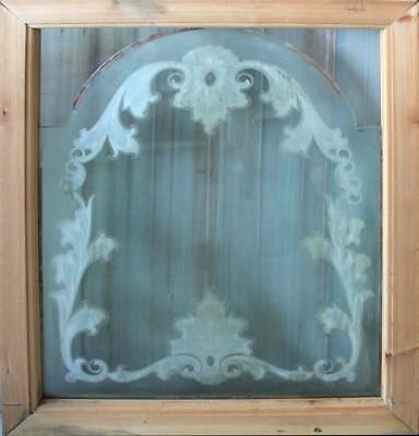 Original Victorian Etched Glass Window Panel Rococo Design