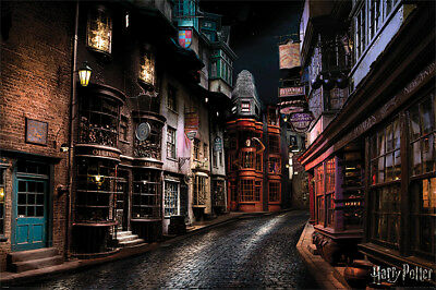 """Hogsmeade Map Diagon Alley 28/""""x10/"""" Map of Harry Potter Retro Poster Hogwarts"""