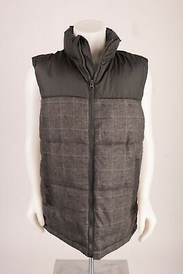 Gap Kids Boys Vest Puffer Quilted Fleece Lined Gray Plaid Casual Sz XL Youth