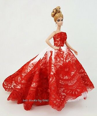 Red Evening Dress Outfit Gown Fits Silkstone Barbie Fashion Royalty Model Muse