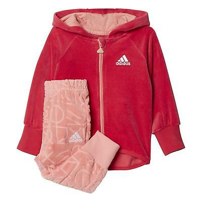 adidas girls pink & peach soft velour zip up tracksuit set. Ages 6-9 months