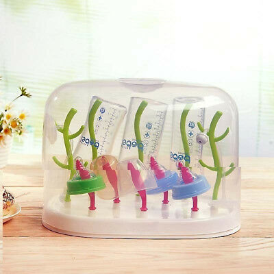 AM_ Tree Style Baby Bottle Anti-dust Drying Rack Storage Case Holder Drainer Abu