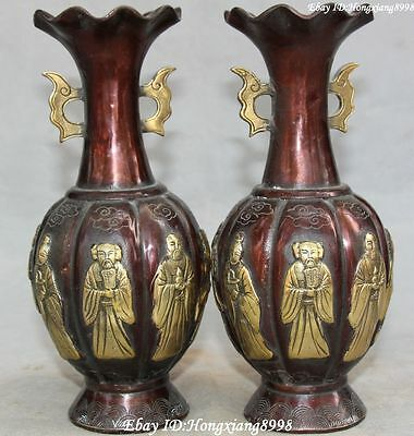 "8"" Marked Old Chinese Bronze Gild Dynasty Eight God Immortals Bottle Vase Pair"