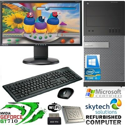Gaming PC Monitor Bundle Core i5 Desktop Computer 16GB RAM 2TB Windows 10 GT 710