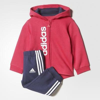 adidas infant girls pink/navy tracksuit. Jogging suit. Ages 0-3 years.