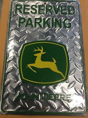 JD03201 John Deere Reserved Parking Sign Diamond Plate w/Green Lettering