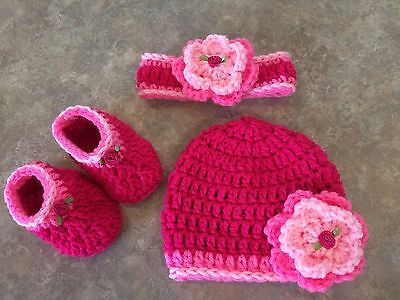 Crochet Hat Headband & Booties Set newborn - 3 month baby Photo Prop Gift Rose