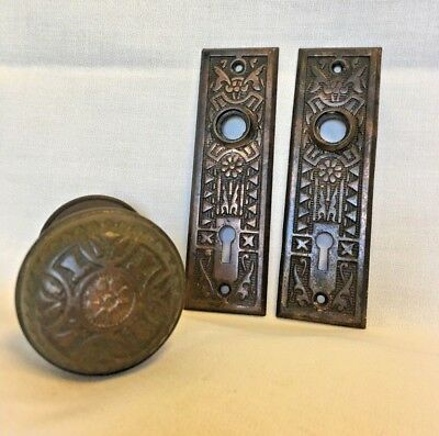 Antique Bronze Eastlake Vernacular Style Doorknob And Plate Set 1890 Sargent