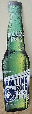 Rolling Rock Metal Beer Sign Tin Tacker New Old Stock PA Bottle Shape Latrobe