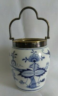 "Antq 4.75"" Dresden Porcelain Franziska Hirsch Blue Floral Tea Jar Brass Handle"