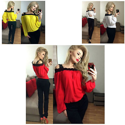 Long-sleeve T-shirts Sexy Lace With Stitching Collar Clothes For Women Ladies