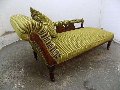 antique,edwardian,chaise longue,wood frame,sprung,padded,striped,green,sofa,seat